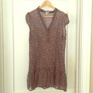 Grey v neck floral mini dress or long top! L